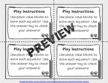Partner Math Addition and Subtraction Equations Task Cards