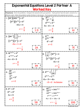 Partner Math Exponential Equations No Logarithms 2 Levels:  No Prep & Self Check