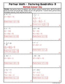 Partner Math Factoring Quadratics Difference of Squares:  No Prep & Self Check