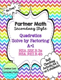 Partner Math Factoring & Solving Quadratics a=1:  No Prep & Self Check
