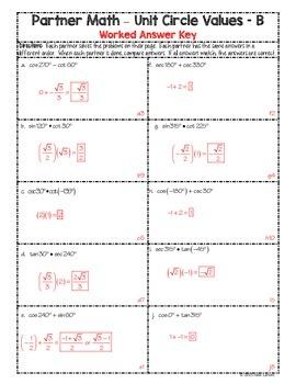 Partner Math Secondary  Trig Unit Circle Values Degrees:  No Prep & Self Check