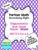 Partner Math Secondary  Trig Unit Circle Values Mixed:  No Prep & Self Check