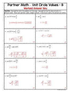 Partner Math Secondary  Trig Unit Circle Values Mixed:  No Prep & Self Check