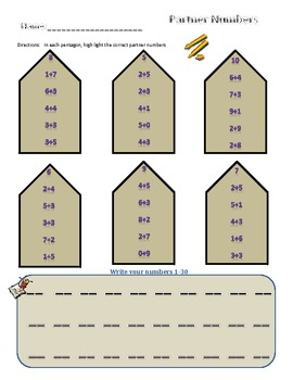 Partner Numbers Activity and Review Sheets