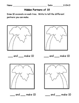 Partner Numbers Math Center:  Chicka Chicka Boom Coom Theme:  Inc. Worksheets
