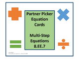 Multi Step Equations Task Cards Pair Up 8.EE.7  7.EE.3