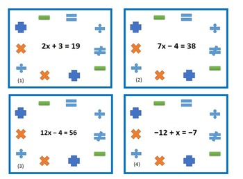 Multi Step Equations Task Cards Pair Up 8.EE.7  7.EE.3