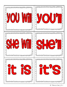 Partner Pairing Cards - Contractions Edition