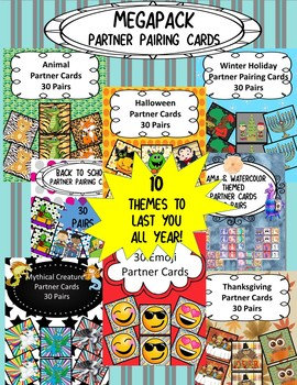 Partner Pairing Cards- MEGAPACK- 10 Themes To Last You The Whole Year!