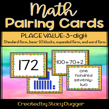 Partner Pairing Cards - Math - Place Value - 3 Digit