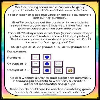 Partner Pairing Cards - Math - Shapes