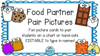 Partner Pairs Picture Cards- Fun Foods Theme