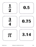 Partner Picking Cards ~ Middle Grades Math
