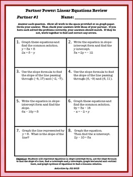 Partner Power: Linear Equations Review