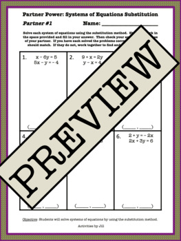Partner Power: Systems of Equations Substitution