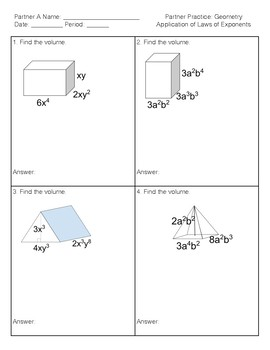 Partner Practice Activity Geometry Application of Laws of Exponents