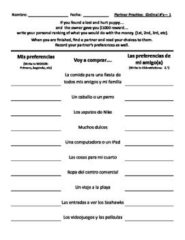 Partner Practice Ordinal Numbers #'s -- Spanish Conversation