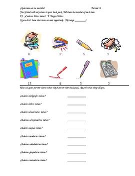 Partner Practice: School supplies and numbers