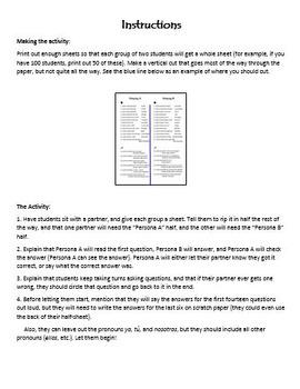 Partner Practice with Realidades 1B (Spanish 2) Vocab