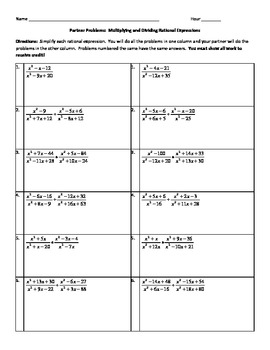 Multiplying and dividing rational expressions worksheet algebra 2 answers
