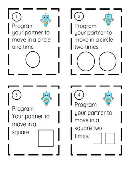 Partner Programming Unplugged Coding Computer Science Lesson Task Cards