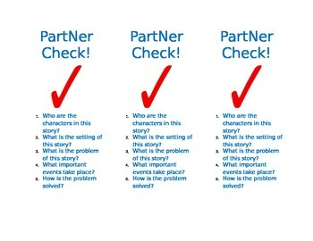 Partner Reading Comprehension Check Bookmark