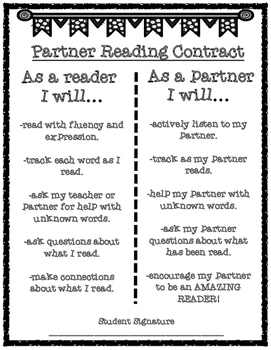 Partner Reading Contract Freebie