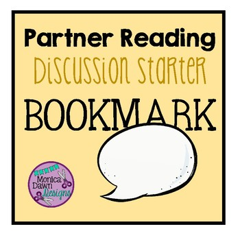 Partner Reading Discussion Starter Bookmark