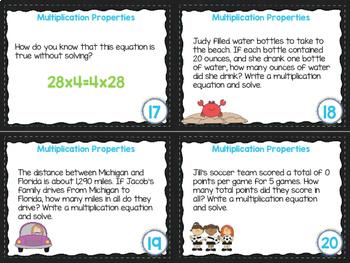 4th Grade Math Task Cards- Multiplication Properties; CCSS 4.OA.A.1