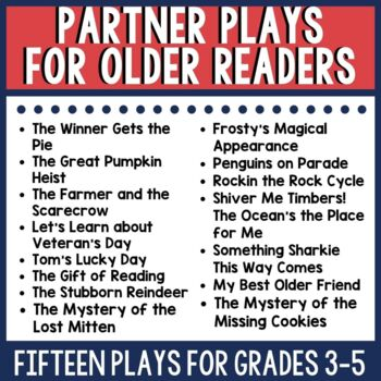 This resource includes 13 different partner plays on a wide variety of topics. Each includes before, during, and after reading activities that utilize a close reading process for fluency and comprehension building. Check out this link for more information.