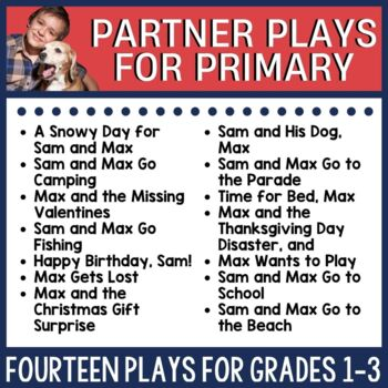 This resource includes 12 different partner plays featuring Sam and his dog, Max experiences. Some are seasonal and some can be used any time of year. Each includes before, during, and after reading activities that utilize a close reading process for fluency and comprehension building. Check out this link for more information.