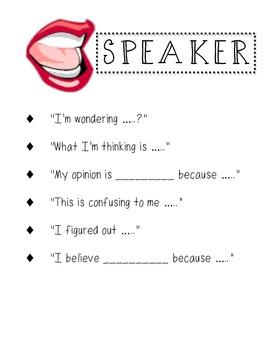 Partner Talk : Speaker and Listner Mini-Anchor Charts