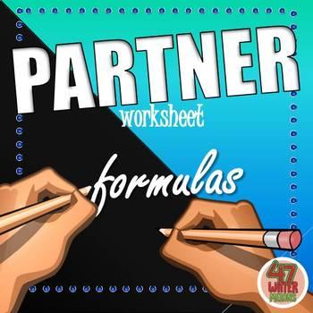 Partner Worksheets: FORMULAS