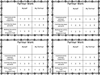 Partner and Group Student Evaluation sheets