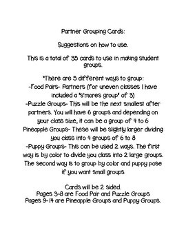 Partner and Grouping Cards