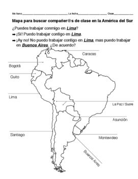 Partner chart - map of South America, CAPITALS of Spanish-speaking countries