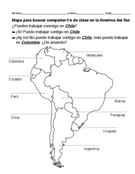 Partner chart - map of South America, Spanish-speaking countries