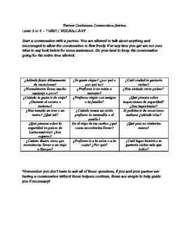 Partner conversation activity, travel vocabulary (level 3 or higher)