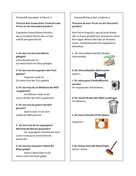 Partnerdrill Chores at Home in the Present Perfect