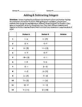 Partner Activity: Adding & Subtracting Integers