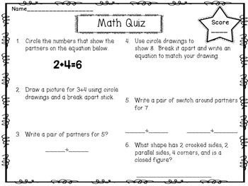 Partners and Totals Quizzes: FREEBIE 1.OA.A.1