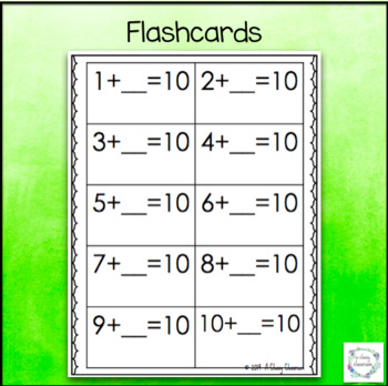 Partners of Ten - Basic Facts Addition Strategy Worksheets and Flashcards