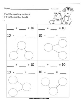 Partners of Ten Decomposing Ten Practice Pages and Addition Subtraction Fluency