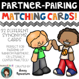 Partner Pairing Matching Cards! Mix Up Student Partners While Practicing Vocab!