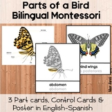Parts Of A Butterfly Poster and Montessori 3 Part Cards English-Spanish