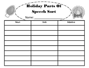 Parts Of Spech Holiday Sort