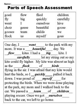 Parts Of Speech Assessments