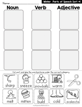 Parts Of Speech Picture Word Sort and Writing Printables (Winter Themed)