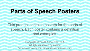 Parts Of Speech Posters (Chevron)