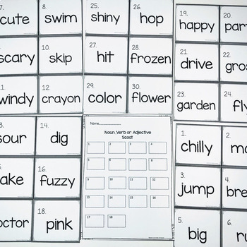 Parts Of Speech Scoot- Identifying Noun, Verb or Adjectives
